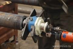 Обработка трубы фаскоснимателем для последующей сварки